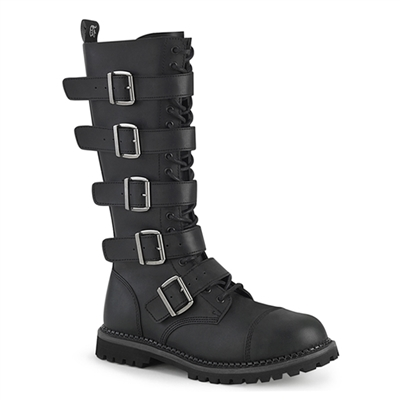 RIOT-18BK Black Leather Demonia Buckle Boots