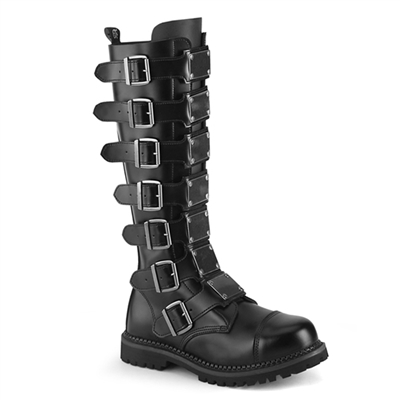 RIOT-21MP Black Leather Demonia Buckle Boots
