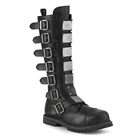RIOT-21MP Black Vegan Leather Demonia Buckle Boots