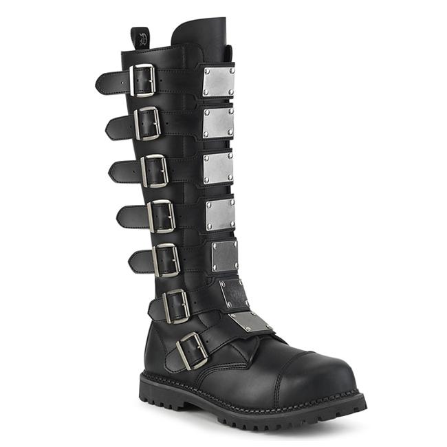 Demonia RIOT-21MP Black Vegan Leather