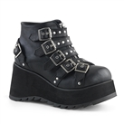 SCENE-30 Black Buckled Platform Boots