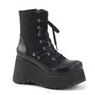 SCENE-50 Black Wedge Platform Boots