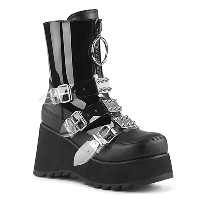 SCENE-51 Black Buckled Platform Boots