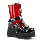 SCENE-51 Red Buckled Platform Boots