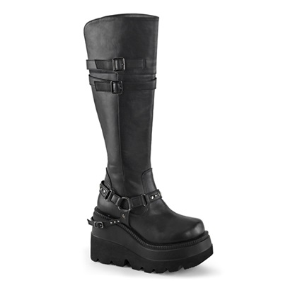 SHAKER-101 Black Wedge Platform Boots