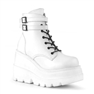 SHAKER-52 White Wedge Platform Boots
