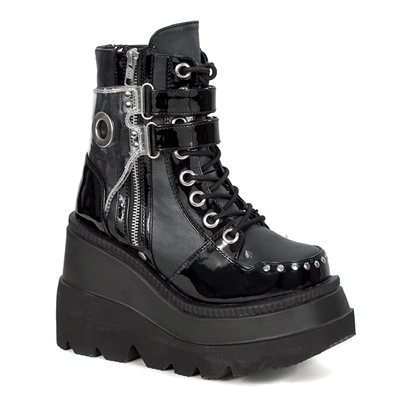 SHAKER-57 Black Wedge Platform Boots