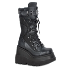 SHAKER-70 Black Wedge Platform Boots
