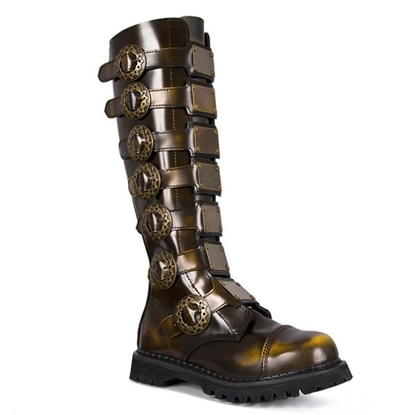 Demonia Steam 30 Mens Black Leather Gothic Steampunk Boots