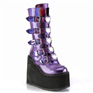 SWING-230 Demonia Purple Buckled Platform Boots