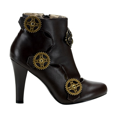 TESLA-12 Brown Steampunk Ankle Bootie