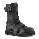 VALOR-220 Black Buckled Demonia Combat Boots