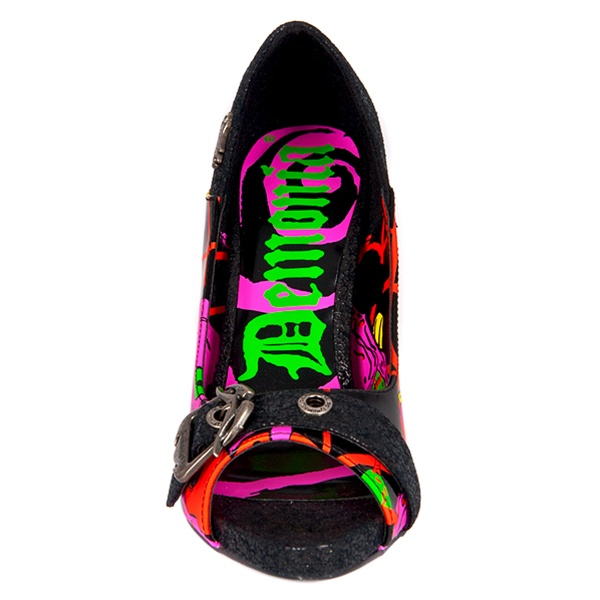 Demonia Zombie 08 Psychobilly Print Peep Toe Pumps