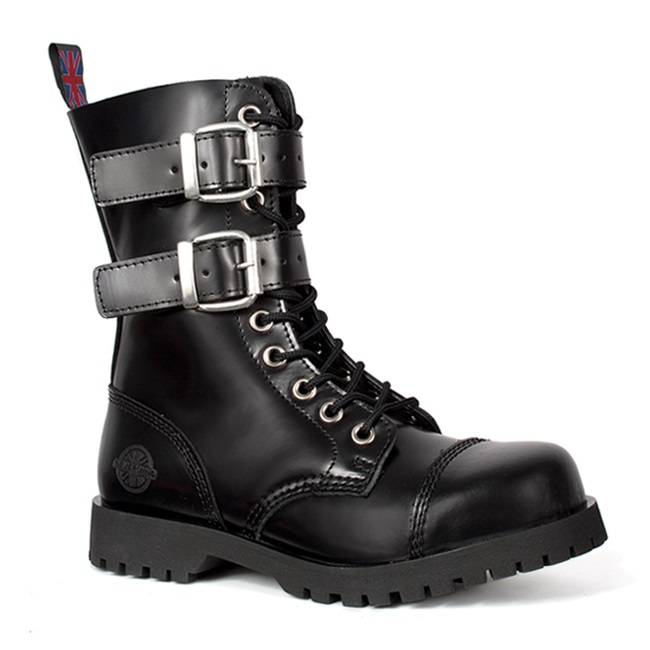 44de4b2e465 Black Leather 2-Buckle Combat Boots by Nevermind