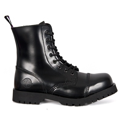 NEVERMIND 8-Eye Black Leather Boots
