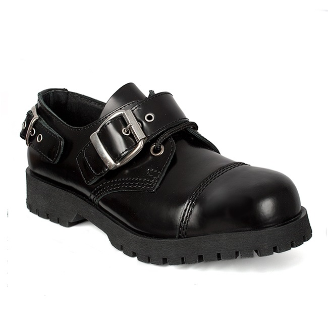 What Is Leather Made Of >> Black Leather BUCKLE Strap Shoes - SinisterSoles.com