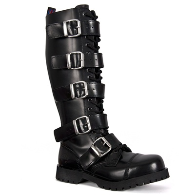 5 Buckle Black Leather Combat Boots By Nevermind
