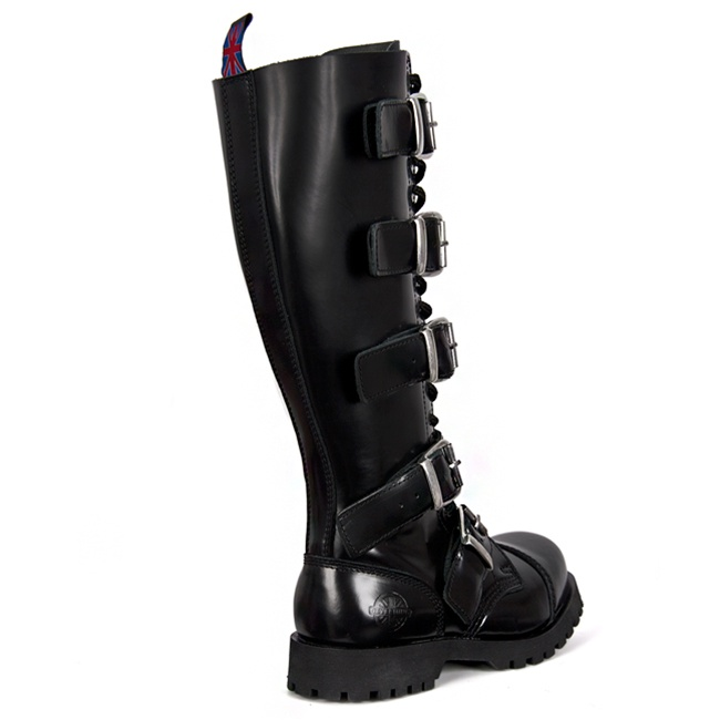 1fb156fda2a 5-Buckle Black Leather Combat Boots by Nevermind - SinisterSoles.com