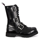 Black Leather 3-Buckle Combat Boots by Nevermind