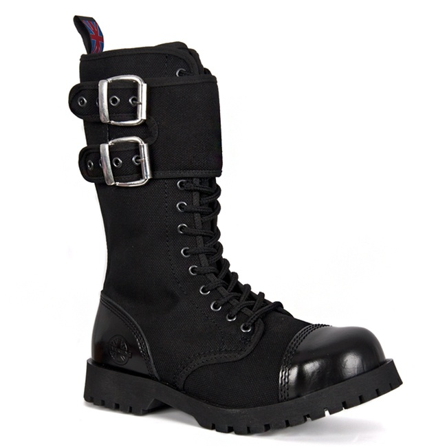 Black Canvas 14 Eyelet Gothic Combat Boots By Nevermind
