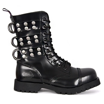 Black Leather Combat Boots by Nevermind