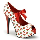 TEEZE-25-3 Cherry Print Platform Pumps