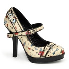 SECRET-14 Tattoo Print Mary Jane Pump