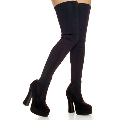 ELECTRA-3000 Black Lycra Thigh High Boots