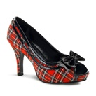 Wide Width Red Plaid Pumps