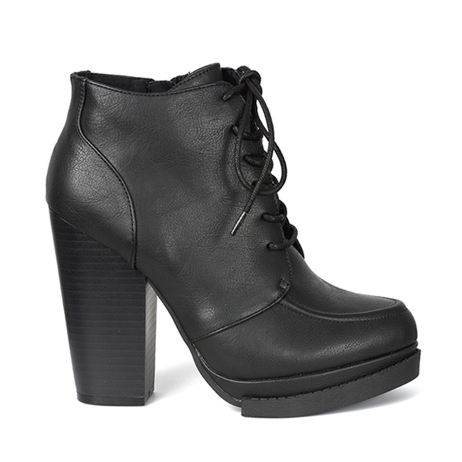 Black Lace-Up Stacked Heel Boots - Sinistersolescom-8967