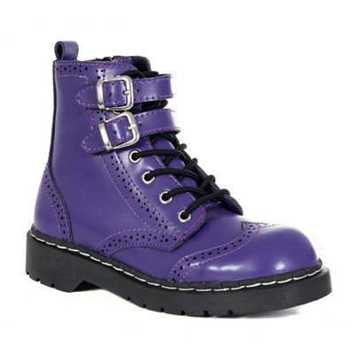 Womens Purple WINGTIP Combat Boots