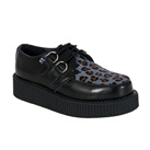 TUK Black Leather Leopard Print Creeper Shoes