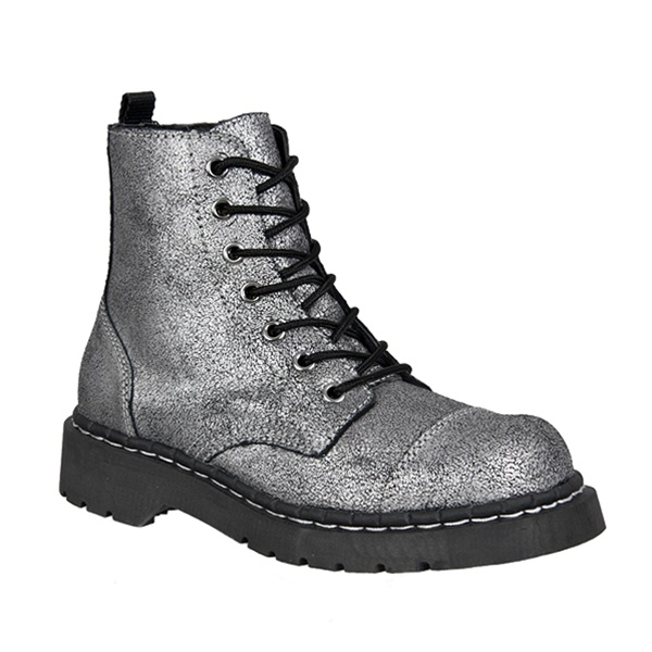 Womens Silver Combat Boots Tuk Shoes Sinistersoles Com