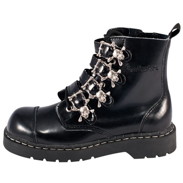 Skull Buckle Womens Combat Boots Tuk Shoes