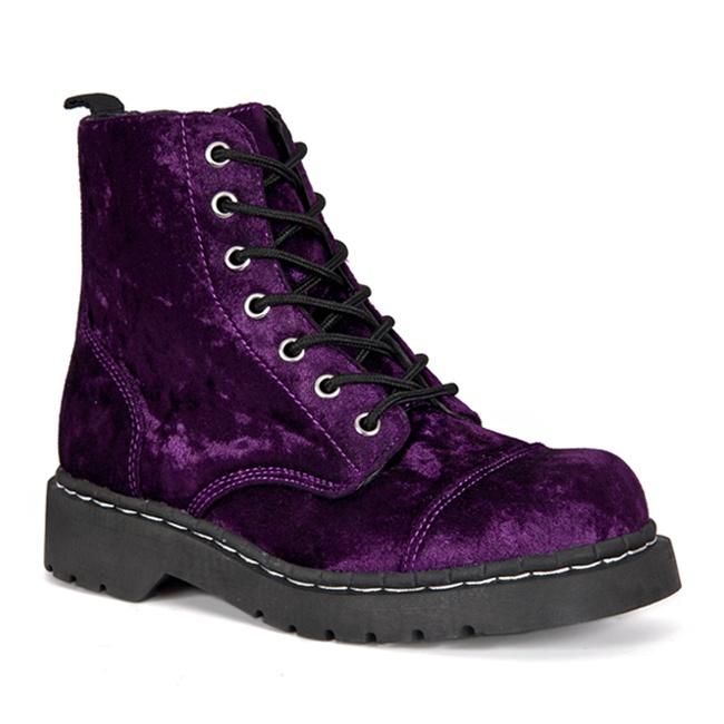 Womens PURPLE Velvet Combat Boots - TUK