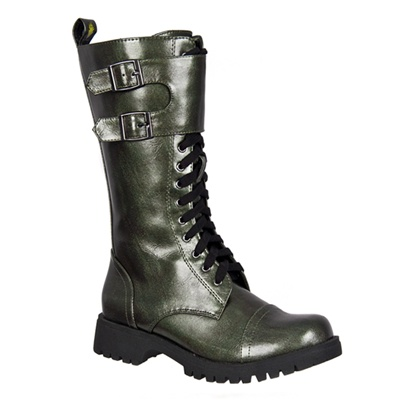 Womens GREEN Lace-up Combat Boots