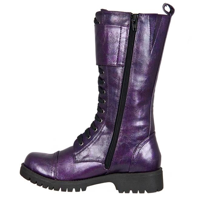Womens Purple Lace Up Combat Boots Sinistersoles Com