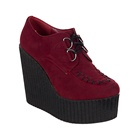Burgundy Suede Vegan Wedge Creepers